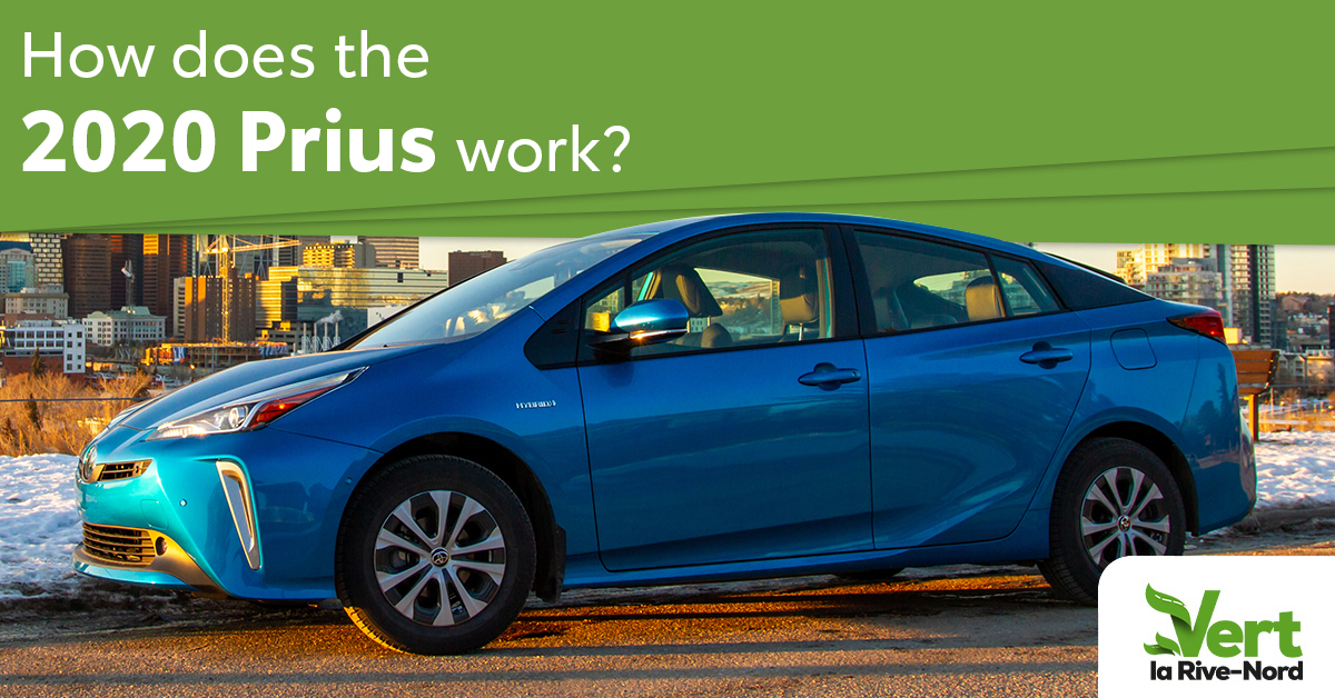 How does the Prius work? A blue Prius in winter in front of a city