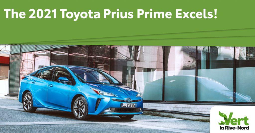 A blue Toyota Prius Prime